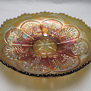 REDUCED Fenton Marigold Peacock and Grape Carnival Glass Bowl with Bearded Berry Reverse