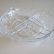 REDUCED Heisey Rose Waverly Four-Part Relish Dish