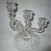 Heisey Cascade Rose Three-light Candlestick