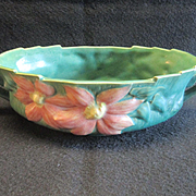 REDUCED Roseville Clematis Handled Oval Bowl 458-10