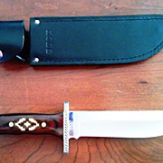 SOLD Custom Engraved Buck Knife #124 with Sheath