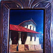SALE San Luis Obispo Mission oil on canvass board by Tess Razalle Carter