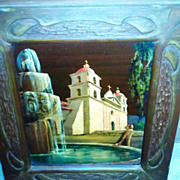 SALE Santa Barbara Mission oil on canvass board by Tess Razalle Carter