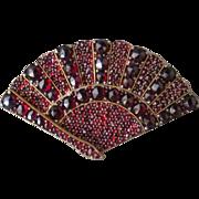 SALE Victorian Bohemian Garnet Fan Brooch *January Birthstone*