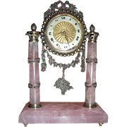 Antique Faberge Inspired Jeweled French Clock Rubies and Marcasite