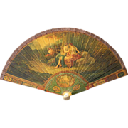 Antique Vernis Martin Lacquer Hand Painted Brise Fan Artist Signed