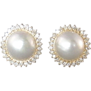 SALE Gorgeous Vintage Mabe Pearl and Diamond Earrings Pierced