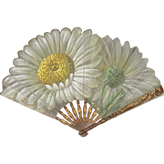 Antique French Art Nouveau Daisy Fan Eventail Signed Tutin C.1900-1910 Original FAUCON PARIS B