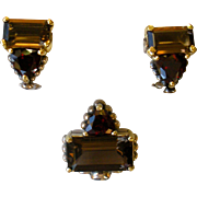 SALE Lagos Caviar Smokey Quartz & Garnet Pendant Enhancer and Earrings