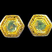 14K White Gold  ~ BLUE TOPAZ FILIGREE EARRINGS ~  Stud Post Pierced