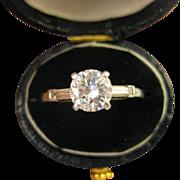 1.1 CT TW ~ PLATINUM DIAMOND ENGAGEMENT RING ~ Vintage Size 7 Appraisal $8,530