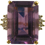 SOLD 14K Gold ~ AMETHYST & DIAMOND COCKTAIL RING ~ Size 7.25