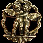 Signed Peruzzi ~ HUGGING CHERUBS BROOCH ~  800 Silver Cupid Putti LARGE Pin