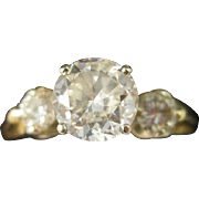 14K Yellow Gold ~ .99 CT TW 3 DIAMOND ENGAGEMENT RING ~ Size 6.75 with Appraisal $5,975