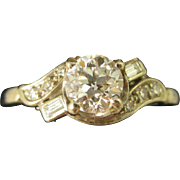 18K White Gold .6 CT TW ~ OLD EUROPEAN CUT DIAMOND RING ~ Size 8 with Appraisal $3,180