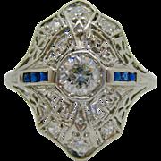Platinum Filigree   ~ DIAMOND & SAPPHIRE ART DECO RING ~    Size 7-1/4