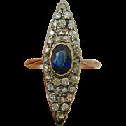 14K Rose Gold Victorian ~ DIAMOND & SAPPHIRE NAVETTE RING ~    Size 7-1/4