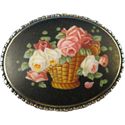 800 Silver  ~ ROSES & BASKET BROOCH ~  Hand Painted Enamel Pin