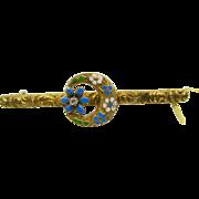 "14k  Gold   ~ BLUE ENAMEL ""FORGET ME NOTS"" DIAMOND  BAR PIN  ~   Victorian Brooch"
