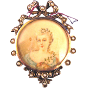 French Silver   ~ MINIATURE PORTRAIT BROOCH ~   Seed Pearl Pin