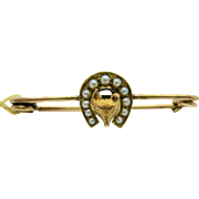 9k  Gold   ~ FOX SEED PEARL  BAR PIN  ~   Victorian Brooch