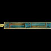 10k  Gold   ~ BLUE ENAMEL  BAR PIN  ~   ART DECO Brooch