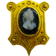 14k  Gold   ~ HARD STONE CAMEO PIN  ~   Victorian Brooch