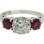 Platinum  ~ 1.04 CT DIAMOND & 0.96 CT RUBY RING ~  with Appraisal