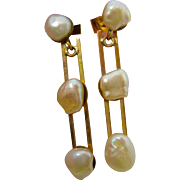 18K Gold  ~ BAROQUE PEARL EARRINGS ~  Pierced