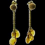 10K Gold  ~ CITRINE BRIOLETTE DANGLE CHAIN EARRINGS ~  Snow Ball Post Pierced