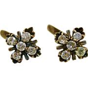 10K Yellow Gold  ~ DIAMOND EARRINGS ~  Pierced