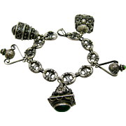 "800 Silver   ~ 5 CHUNKY CHARM ETRUSCAN BRACELET ~   Tigereye Jade Clear Stones    8"" Long"
