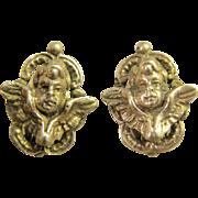Signed Peruzzi ~ Winged Cherub Clip Earrings ~  800 Silver Cupid Putti