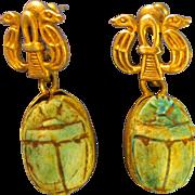 "Egyptian  ~ SCARAB DANGLE STERLING EARRINGS ~  ""Egypt 925"" Silver Post"