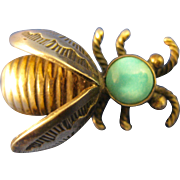 Sterling  ~  TURQUOISE BUMBLE BEE BROOCH ~  Silver Insect Bug Pin