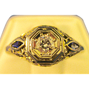 18K White Gold  ~ SAPPHIRE & DIAMOND FILIGREE RING ~   1920's Art Deco in a Size 8