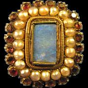 Skilled Craftsman Ring ~ ANTIQUE RUBY, PEARL & OPAL GEORGIAN SETTING ~ set in a Vintage 10K Go