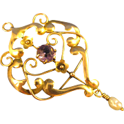 9k Gold  ~ AMETHYST GLASS STONE & PEARL DANGLE  LAVALIER ~ Pendant