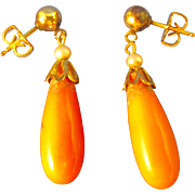 14k Gold   ~ CORAL & SEED PEARL DANGLE EARRINGS ~   Pierced Posts