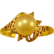 14K Gold  ~ PEARL & DIAMOND RING ~  Size 6-1/2