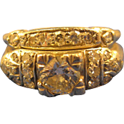 1930's Vintage Platinum   ~ DIAMOND ENGAGEMENT WEDDING RING SET ~  Attached Pair Size 5-3/4