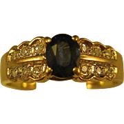 14K Gold   ~ DIAMOND & SAPPHIRE RING ~   Size 7