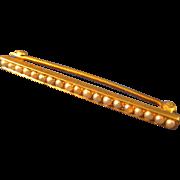 """Art Deco  14k Gold  ~ PEARL BAR PIN ~   1-5/8"""" Long"""