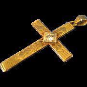 "14k Yellow Solid Gold  ~ DIAMOND CROSS PENDANT ~  1-3/8"" Long"
