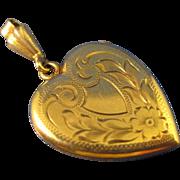 10K Yellow Solid Gold  ~ HEART DOUBLE LOCKET ~  Monogram Ready Pendant