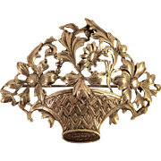 "Sterling GUGLIELMO CINI ~ FLOWER BOUQUET BASKET BROOCH ~ Large 2-1/2"" Silver Pin"