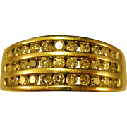 10K Gold   ~ 3 CHANNEL DIAMOND BAND RING ~   Size 7