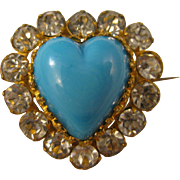 Victorian  ~ TURQUOISE HEART PASTE PIN ~  Gilt Rhinestone Brooch