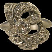 Edwardian ~ .63 CT TW OLD MINE CUT DIAMOND PLATINUM RING~ Size 4.25 & Appraisal $2,750
