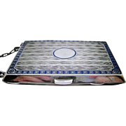Sterling Kerr  ~ SILVER ENAMEL COIN PURSE ~  Monogram Ready with Chain